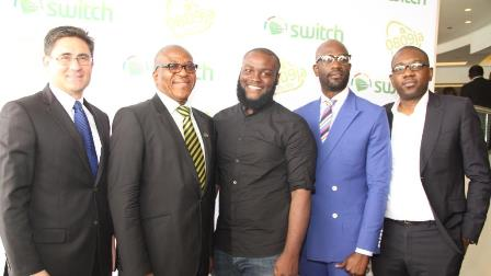 Acting Chief Executive Officer, Etisalat Nigeria, Mr. Matthew Willsher; Etisalat customers, Mr. Soni Irabor, Mr. Obi Somto, Mr. Mai Atafo and Director, Consumer Segment, Etisalat Nigeria, Mr. Oluwole Rawa, at the unveiling of Etisalat Mobile Number Portability (MNP) Testimonial Campaign, held at Eko Hotel & Suites, today, 28th May, 2014.