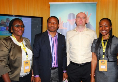 Mr. Larry Annetts flanked by (L-R) Mrs. Fehintola Mustapha, GM, Customer Relations, Mr. Kola Oyeyemi, GM, Consumer Marketing, and Ms. Ugonna Nwoye, GM, Product and Innovation during one of the MTN Nigeria's events in Lagos