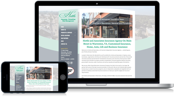 Hottle and Associates in Warrenton VA and Marshall VA Insurance Website Design