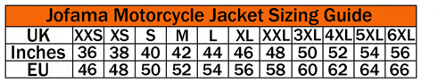 Sizing chart for Jofama Motorcycle Jackets