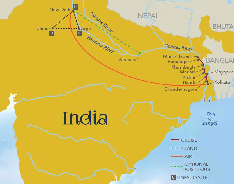 India Ganges Itinerary Map