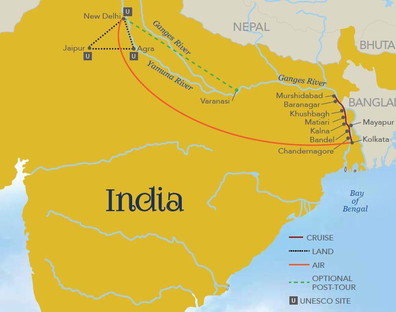 2019 Splendors of India & the Ganges River - nd g Vacations on tigris river map, godavari river, brahmaputra river map, river thames, godavari river map, indian ocean, indus river, deccan plateau map, taj mahal, euphrates river map, great indian desert map, arabian sea map, bay of bengal, yangtze river, great lakes map, india map, yellow river, mississippi river, brahmaputra river, persian gulf map, irrawaddy river map, china map, krishna river map, rhine river map, narmada river, niger river map, amazon river map, yangtze river map, bay of bengal map, new delhi, mekong river map,