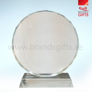 Round Crystal Trophy with stylish edges www.brandsgifts.ae