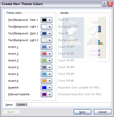 PowerPoint 2007 Colors in Office Charts