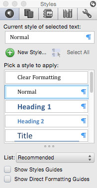 Managing Styles: the master Styles List