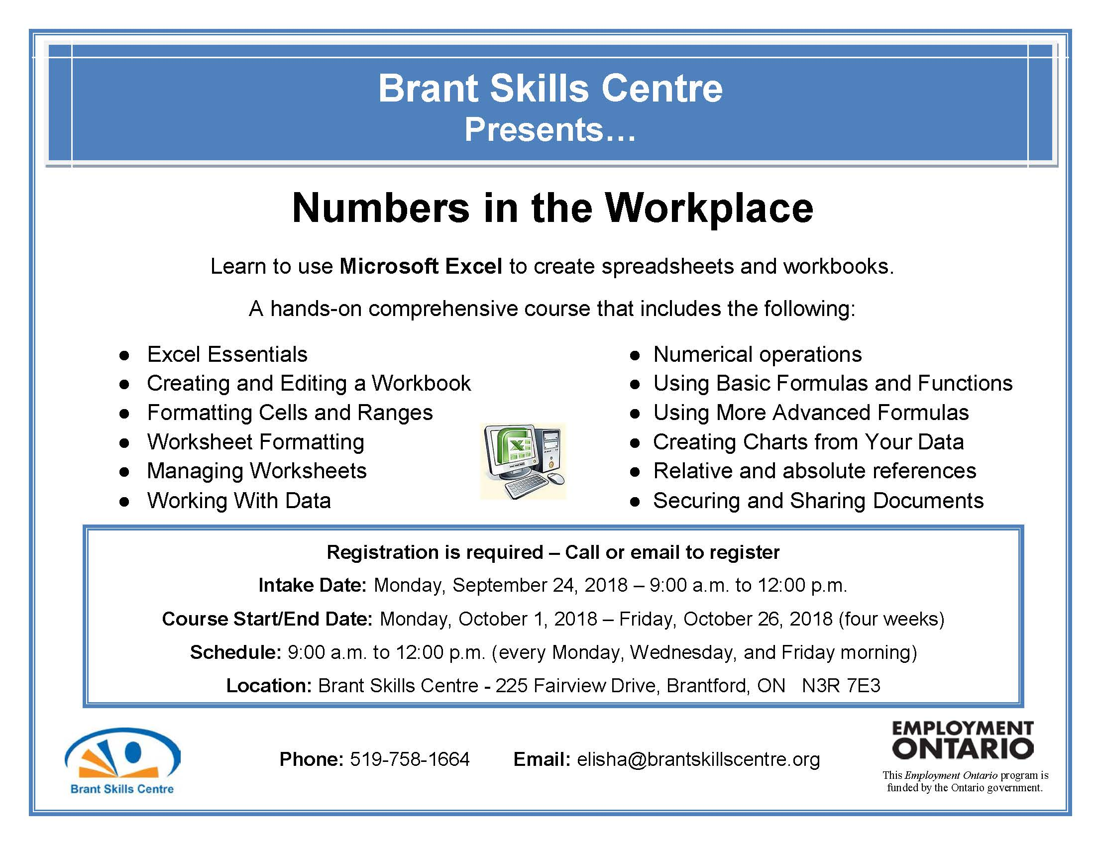 Free Computer Classes Brant Skills Centre