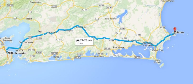 Ruta de Rio de Janeiro a Búzios. (Google)