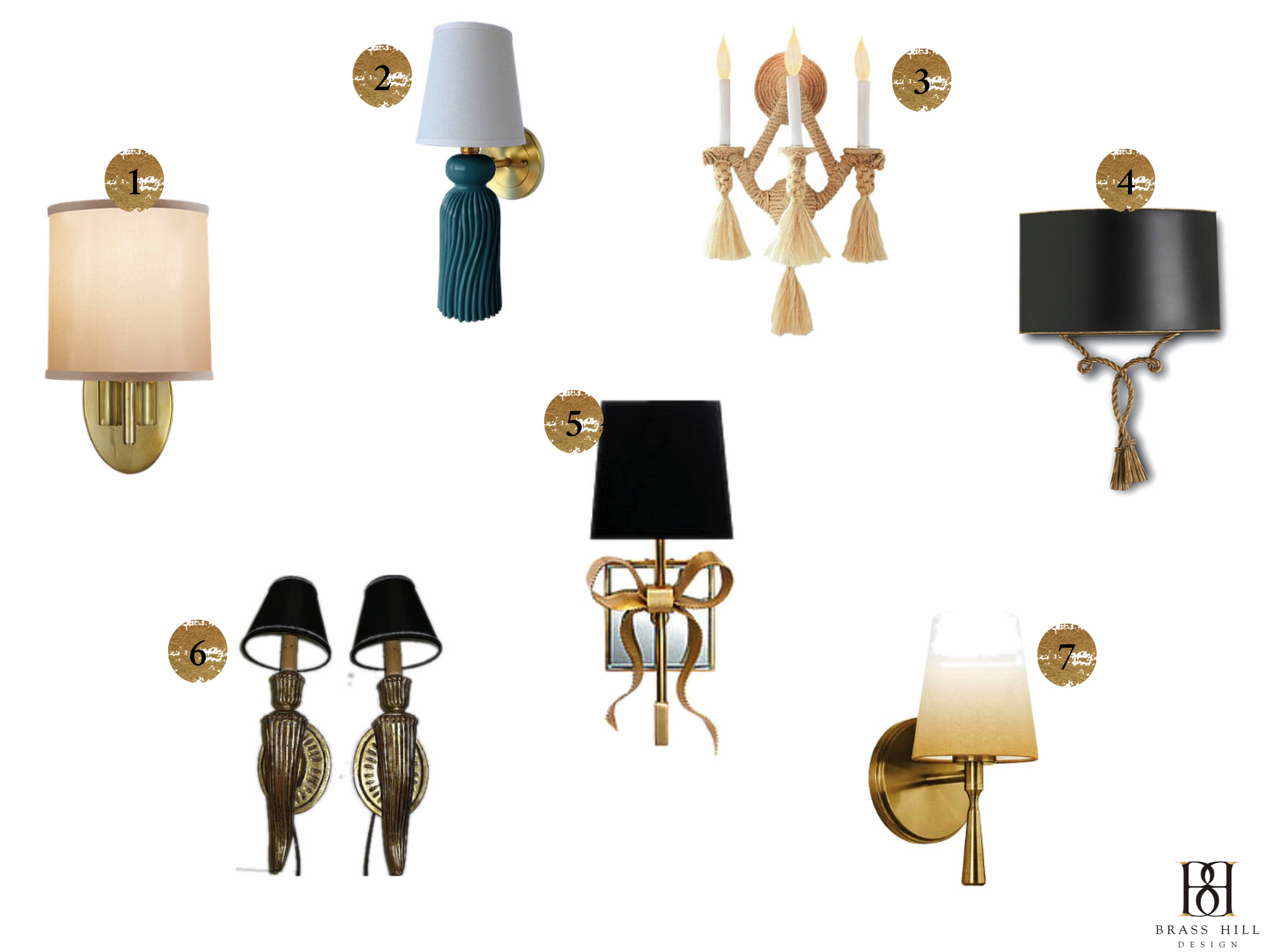 Ribbon & Tassel Sconces Brass Hill Design