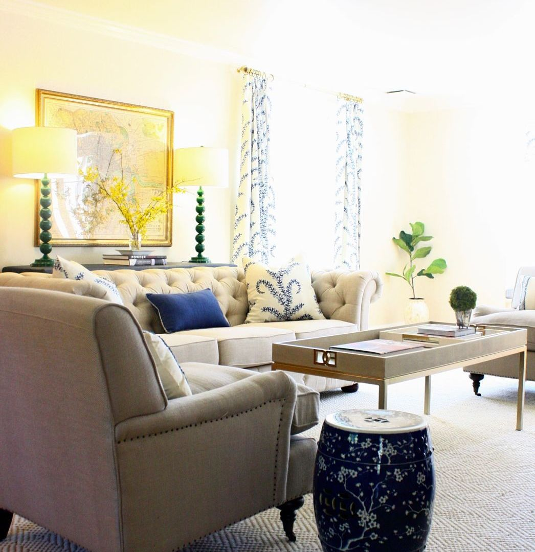 Client Project: A Blue, Cream & Green Living Room