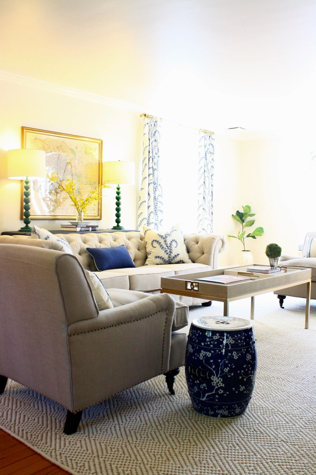 Client Project A Blue Cream Green Living Room Brass Hill Design
