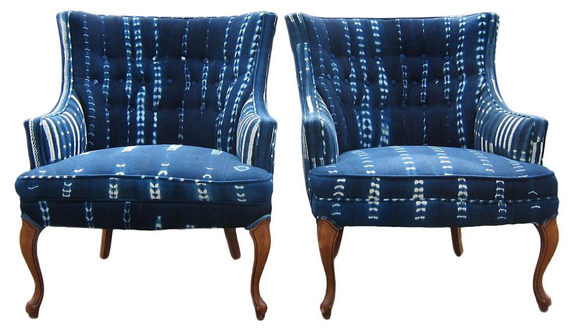 African Indigo Arm Chairs
