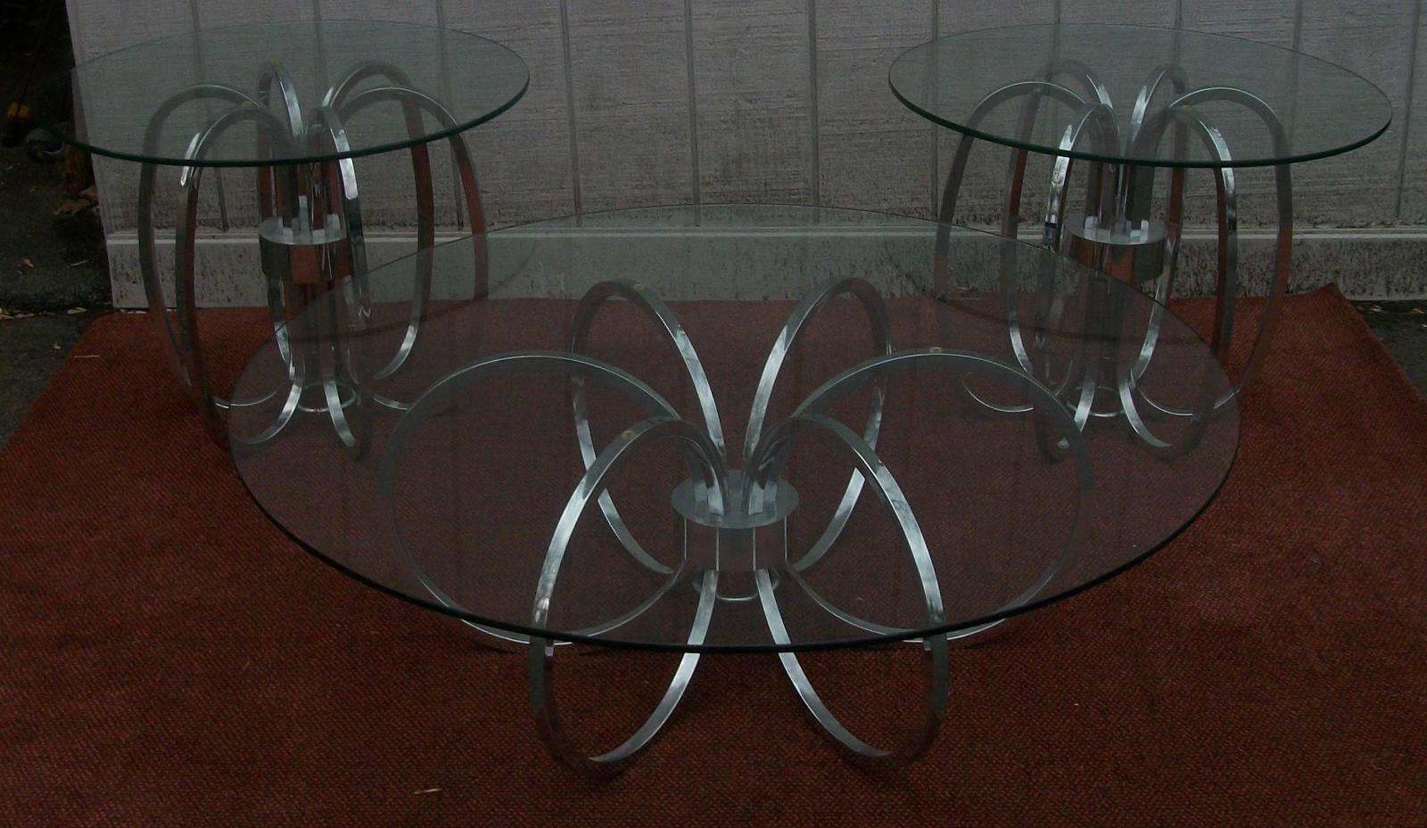 Glass Top Chrome Coffee 2 Side Tables Modern Brass