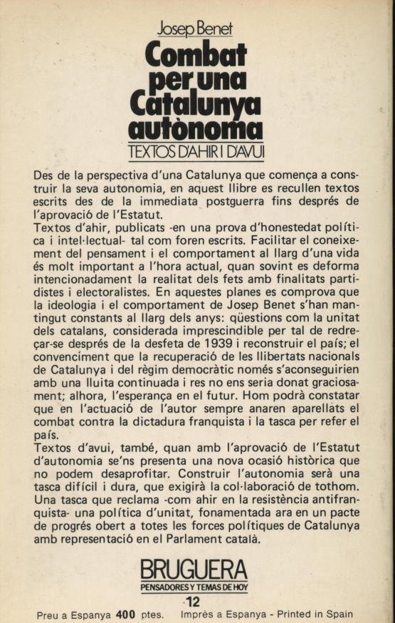 Combat per una Catalunya autònoma - Josep Benet