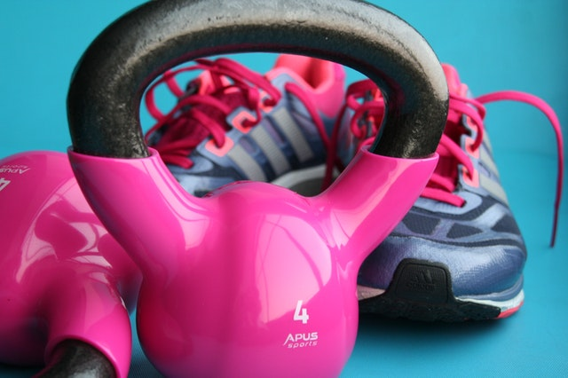 kettle bell and sneakers
