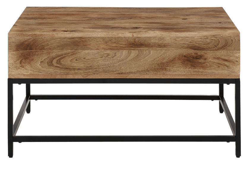 brown wood coffee table with metal legs and storage