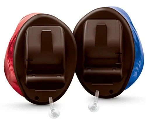 Signia Insio Hörgeräte Paar in rot und blau