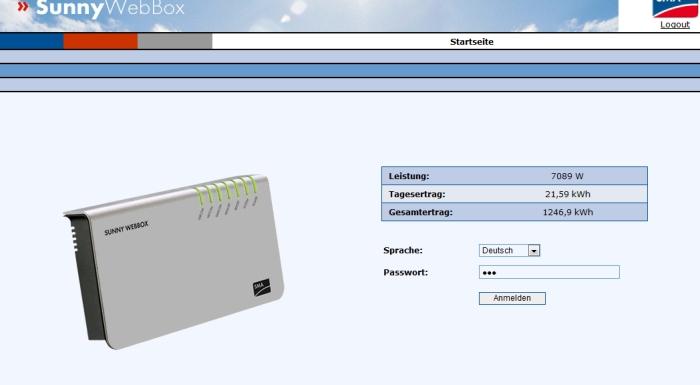 Leistungsüberwachung via Webinterface (aktuell Turbinenleistung bei einer Windgeschwindigkeit von 11m/s)