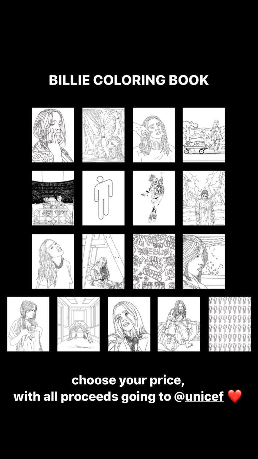 billie eilish releases 'pick your donation' coloring book