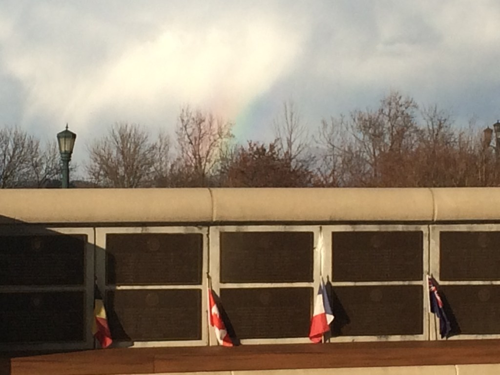 Rainbow over Necrology Wall at National D-Day Memorial
