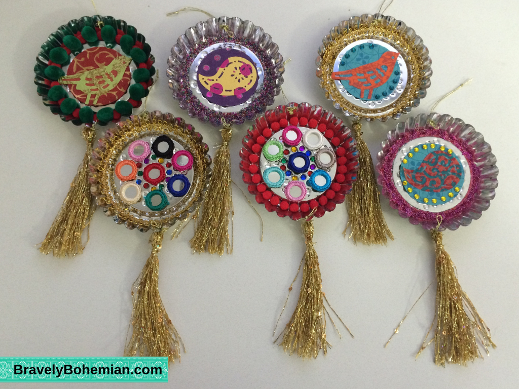 Mixed Media tart tin ornaments with tassels
