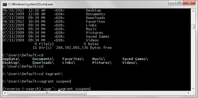 Screenshot of windows cmd.exe shell running Clink