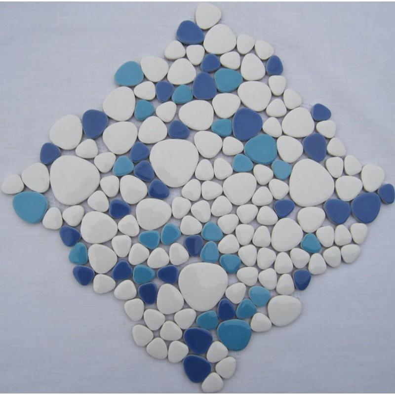 glazed porcelain pebble tile fambe kitchen backsplash cheap bathroom floor designs shower wall coverings tiles fs1719 blue and white ceramic mosaics