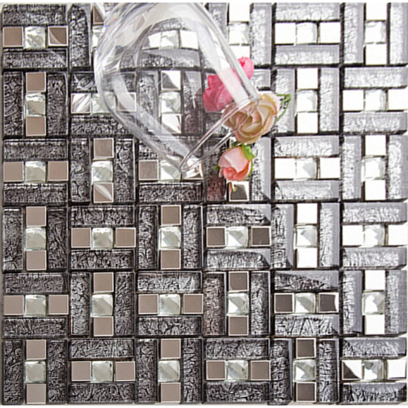 Silver 304 Stainless Steel Mosaic Tile Black Crystal Glass