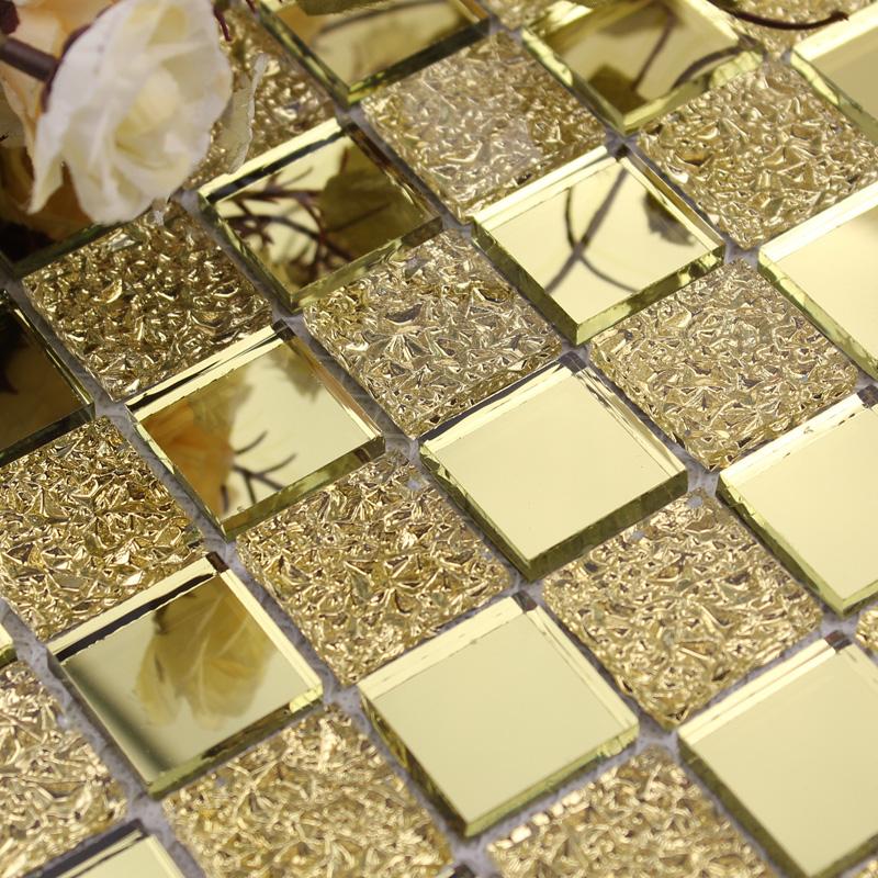 glass mirror mosaic tile sheets gold mosaic bathroom shower wall tiles design crystal glass mirrored frame decor gmt925