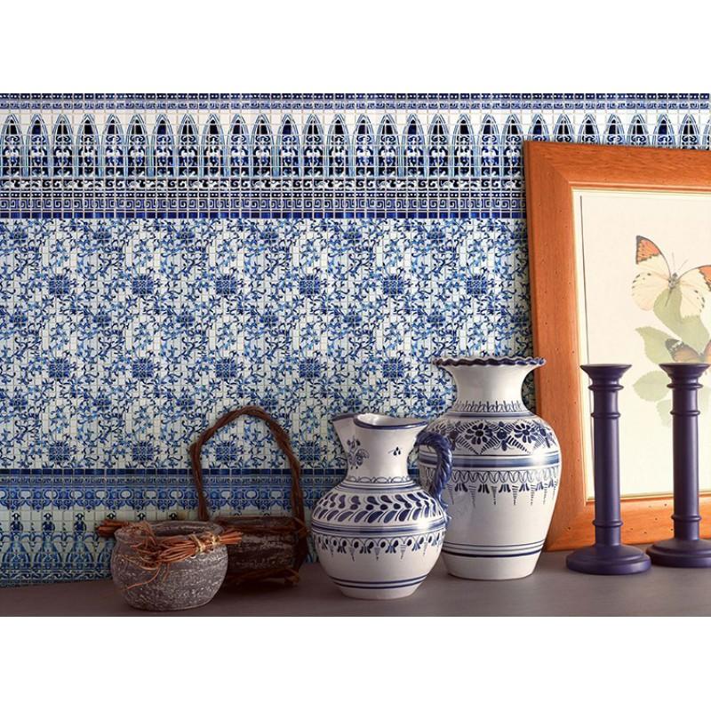 blue and white tile backsplash kitchen