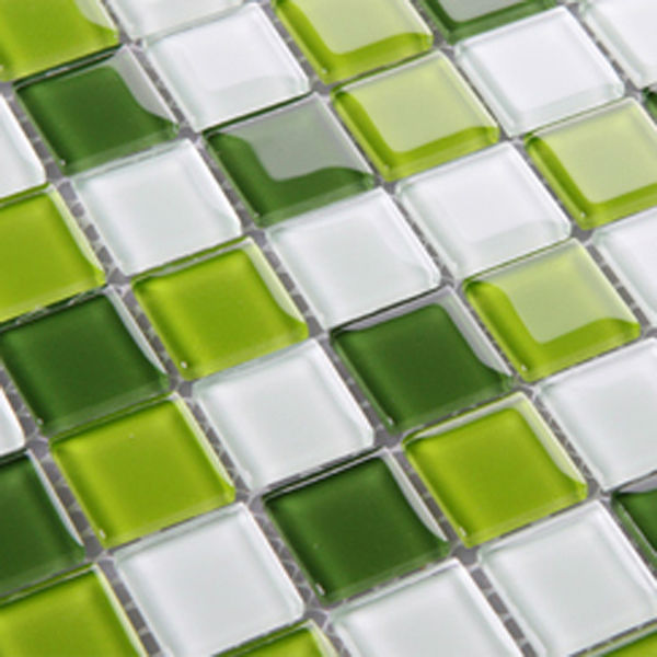 Glass Tile Backsplash Green Crystal Glass Mosaic Tiles
