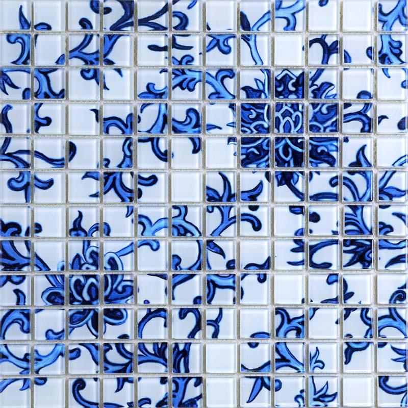 crystal glass mosaic blue and white tile backsplash kitchen pattern bathroom wall tiles mirror tiles puzzle mosaic glass sm111
