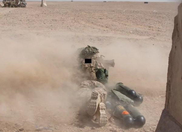 Mary firing her Carl Gustav during at a FOB range