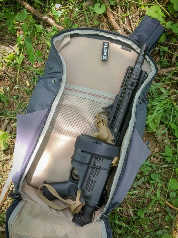 Vertx Gamut backpack EDC bag with folding AR pistol aboard.