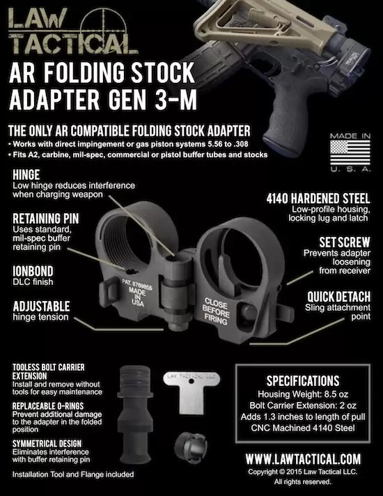 Law Tactical's Mod3 AR folding stock adapter