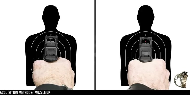 Pistol mounted red dot sights - one way to pick up the dot is to use the muzzle up method.