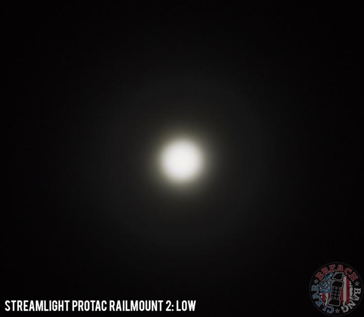 Streamlight ProTac Rail Mount 2 beam shot - low setting.