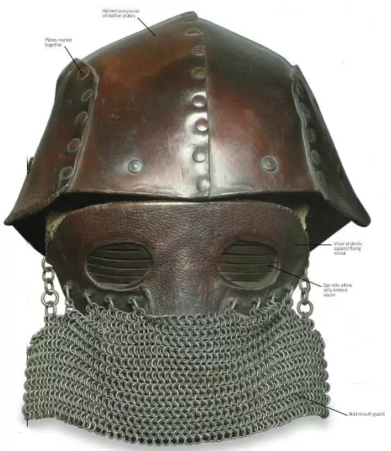 Early tanker armor looked like something from the Middle Ages, especially their helmets, which had chain mail over the face.