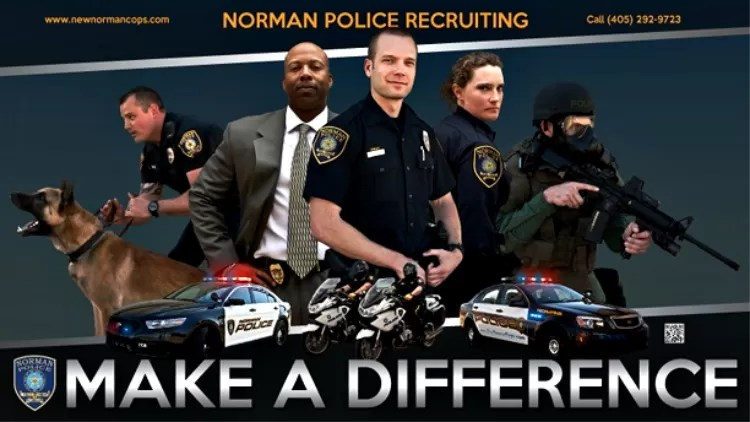 Police officer recruiting advertisement. make a difference.