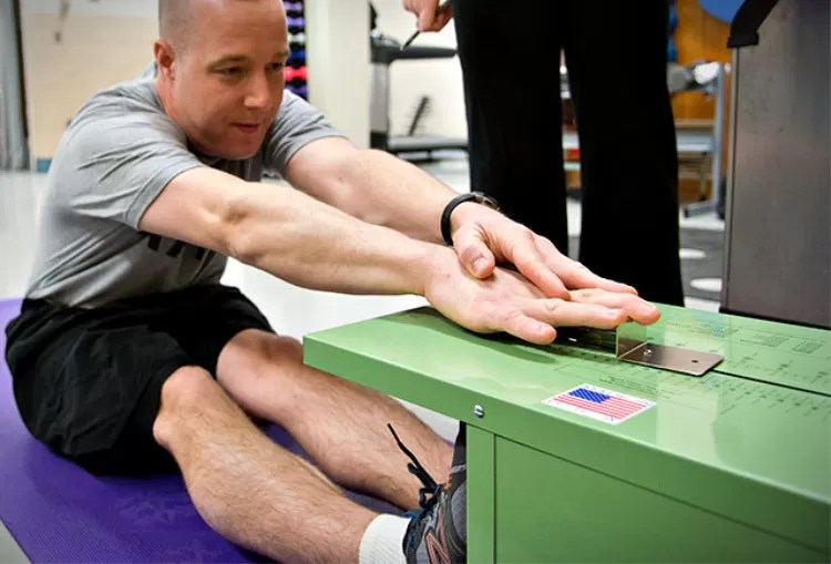 The Sit-and-Reach flexibility test specifically measures the flexibility of the lower back and hamstring muscles. Image source; topendsports.com