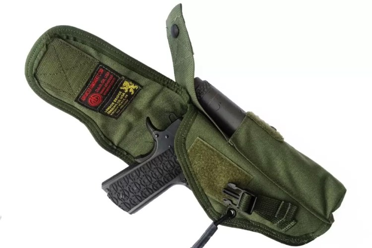 LBT holster with pouch for suppressor.