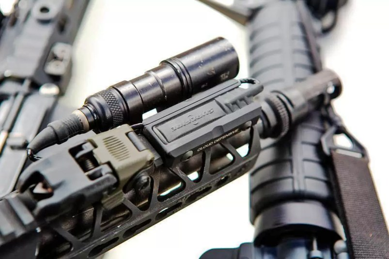 """A Cloud Defensive LCSMK1 mounted on an 8.5 in. AR15 300BLK build. """"Not a ton of real estate, so the pressure switch goes in front of the BUIS."""" Chris Tran (Also featuring Arisaka Defense and Malkoff Devices min-Scout clone."""