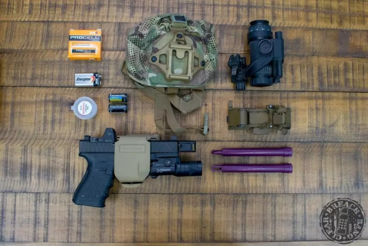 Night vision, lasers, and flashlights all run on batteries so be sure to include a few of each type in your bag