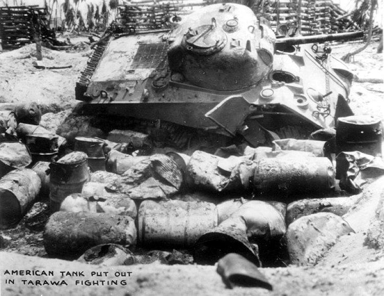 A Sherman tank knocked out of commission at Tarawa.