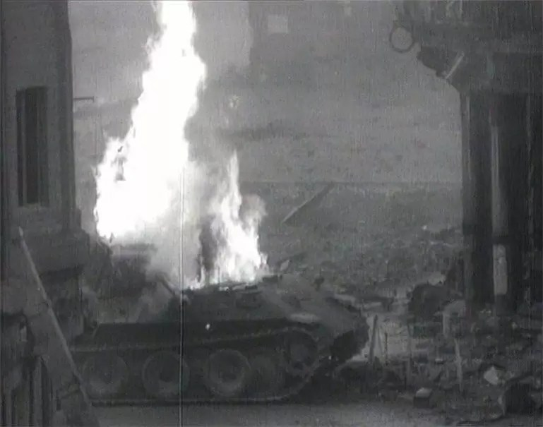 German Panther tank fighting an American T-26 Pershing near the cathedral during the Battle of Cologne. The 3rd Armored Division was supporting advancing Allied infantry.