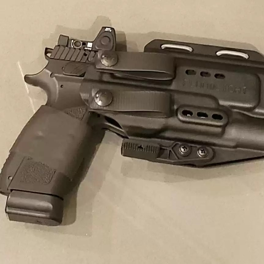 The PHLster Floodlight AIWB holster (appendix carry holster) from Primary & Secondary with a CZ aboard.
