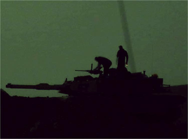 M1A1 Tank - silhouette - military slang, tanker terms.