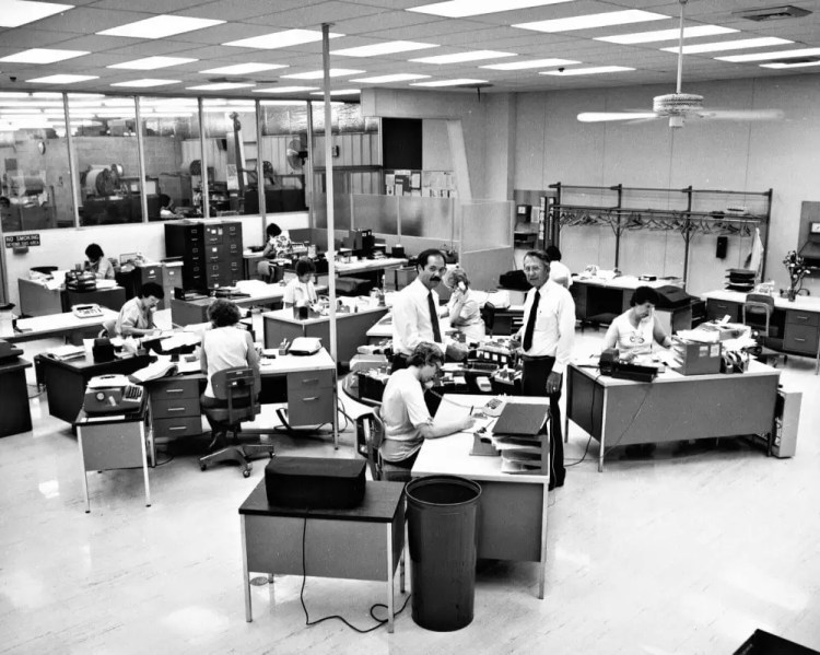 Frank and Bob inspect the call center. Image source, Brownell's, Inc.