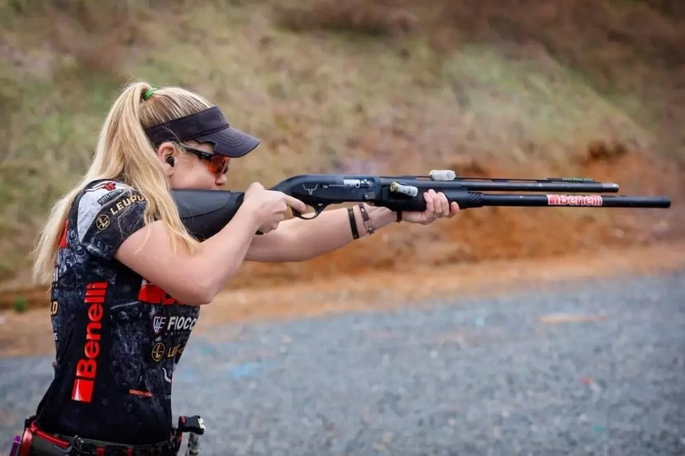 Crushing a shotgun stage during competition: champion shooters must have great mental focus as well as physical training.