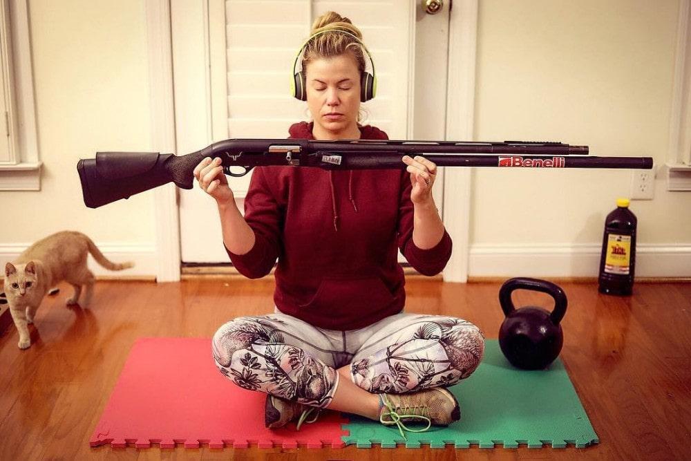 3 Gun Heather gettin' zen with her Benelli.