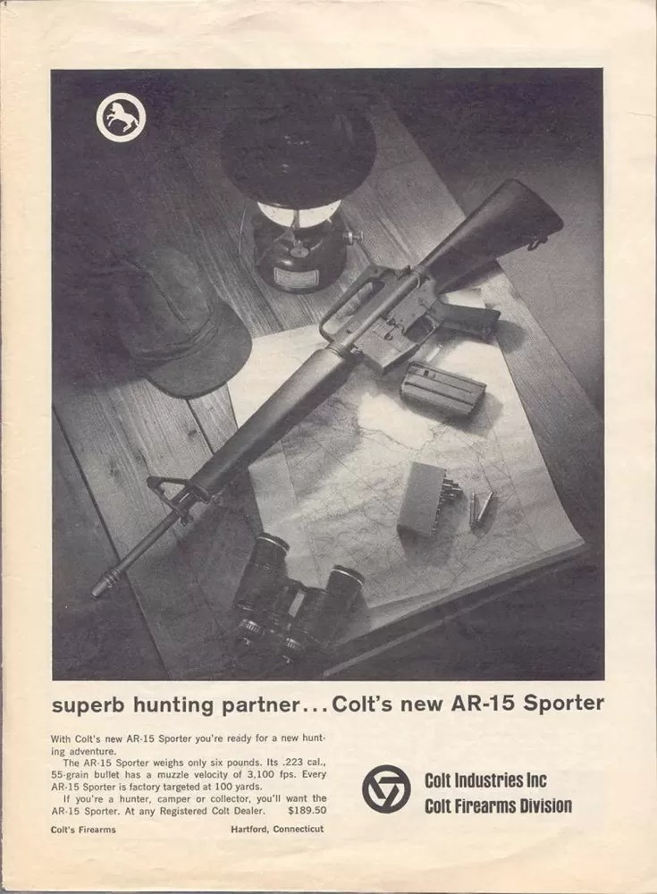 Stoner and Kalashnikov: A Vintage ad for the AR-15 sporter (Public Domain).